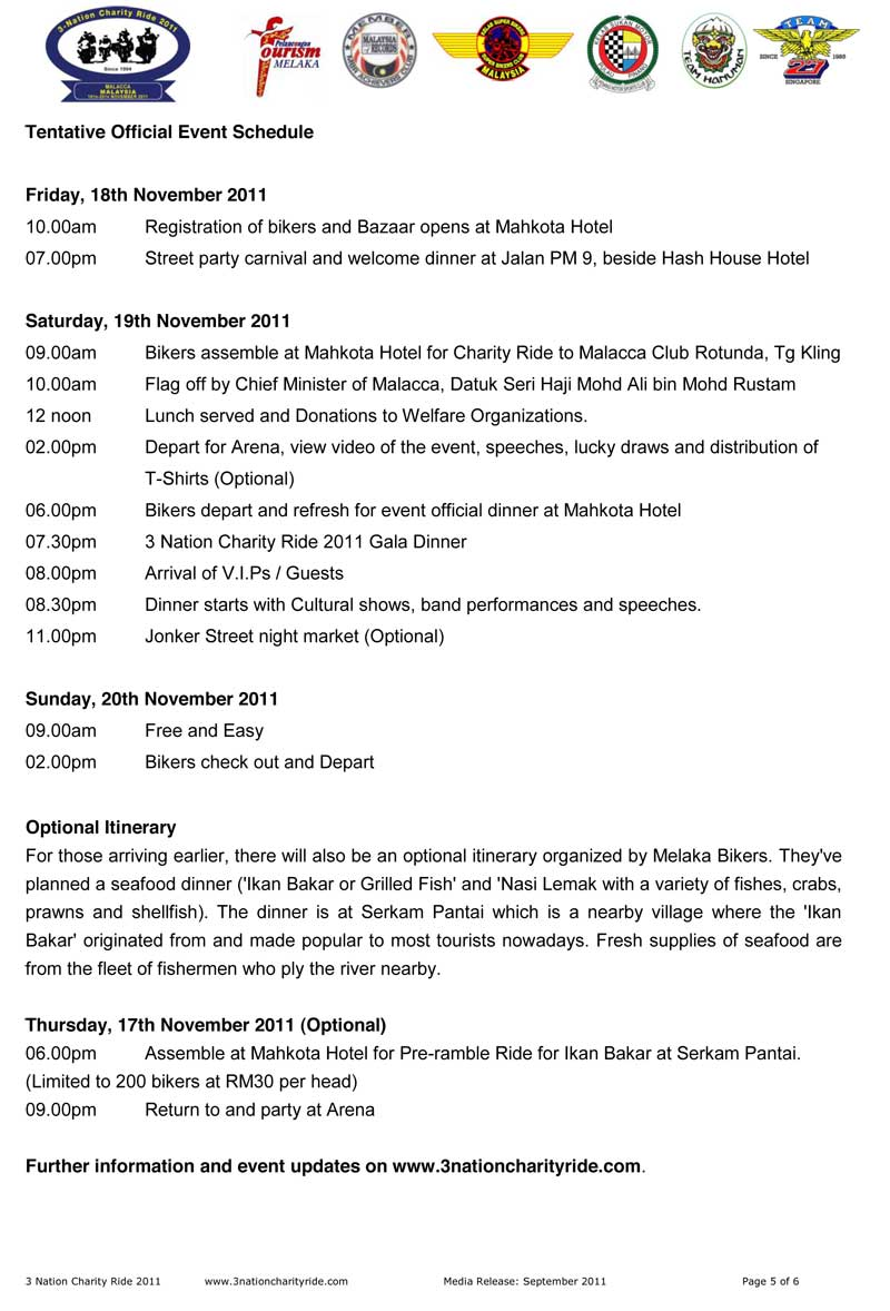 3 Nation Ride 2011 Tentative Official Event Schedule