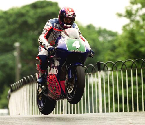 PACEMAKER, BELFAST, 1999: John McGuinness gets his Vimto Honda 250cc airborne over Ballaugh Bridge in the 1999 TT.  PICTURE BY STEPHEN DAVISON